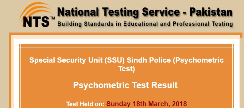 NTS Sindh Polic Psychometric Test Result for SSU Special Security Unit August 2018